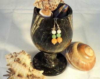 Red & Green Aventurine and Freshwater Pearl Earrings