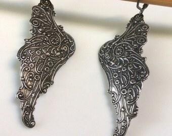 Angel Wing Earrings  Bohemian Earrings  Long Dangle Earrings  Antiqued Silver Earrings  Boho Earrings  Gypsy Dangle Earrings
