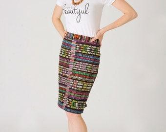 Guatemalan corte pencil skirt