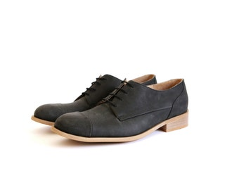Mean's oxford shoes Black leather , handmade , ADIKILAV