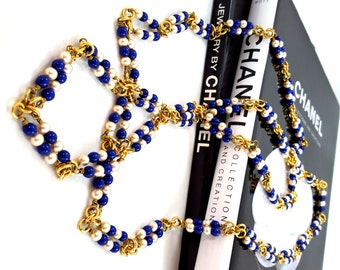 Vintage Authentic CHANEL Necklace Indigo GRIPOIX Glass Gold Plated Lapis Blue Faux Pearl Ultra Long Uber RARE Fabulous Haute Couture