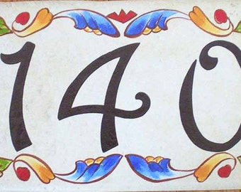 Address sign, ceramic house numbers, house number plaque, Italian house numbers design. house sign, Victorian house number, outdoor signs
