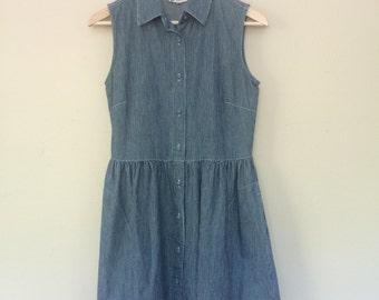 Vintage Denim Babydoll Pinstripe Mini Dress