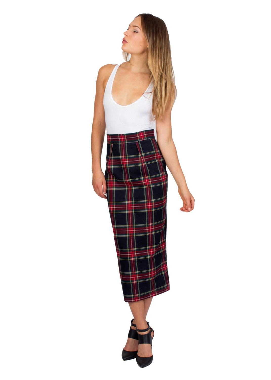 Tartan Skirt Midi Skirt Plaid Skirt Wool Skirt Long Skirt