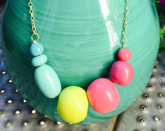 Teal, Pink and Neon Yellow Layering Necklace
