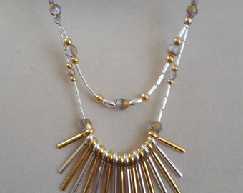 Beautiful Silver & Gold Fan Necklace