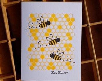 Hey Honey Letterpress Greeting Card