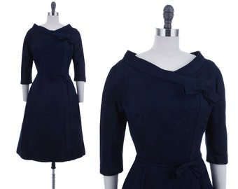 Gemini Bows Dress / 1950's Vintage Navy Blue Bombshell Pinup Madmen 50s Party Dress Medium M
