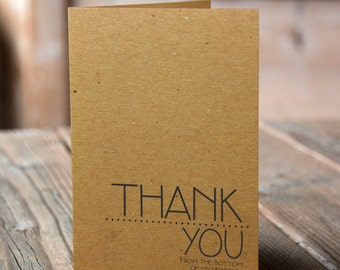 Set of 10 Kraft Thank You Cards - Thank you from the bottom of my heart with kraft envelopes, modern typography
