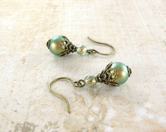 Swarovski Pearl Iridescent Green and Gold Earrings - Vintage Style Jewelry - Antique Brass Neo Victorian Earrings - Green Victorian Jewelry