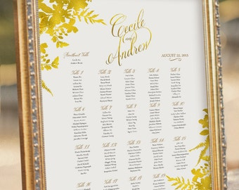 Gold Guest Seating Chart - Wedding Reception Sign - digital PDF file