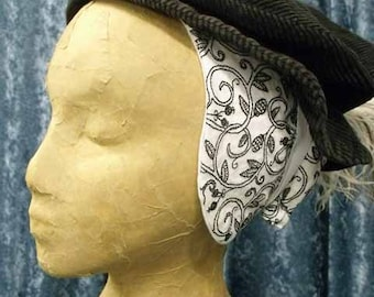 Linen Coif with Silk Blackwork Embroidery, Elizabethan