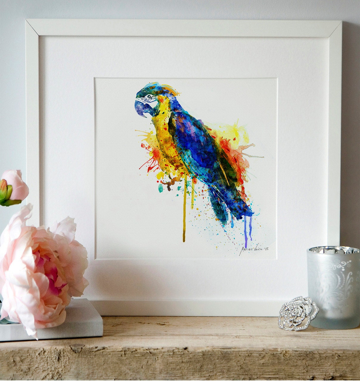 Colorful parrot watercolor wall art birds wall decor printable for Bird wall art