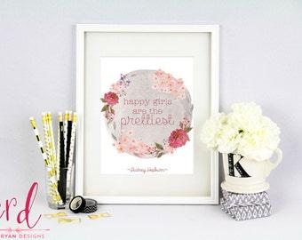 Happy Girls are the Prettiest Print - Audrey Hepburn - Happy Girls - Inspirational Quote - 8x10 Print - Giclee Print