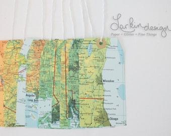 Vintage Atlas Map Tags, Qty. 10