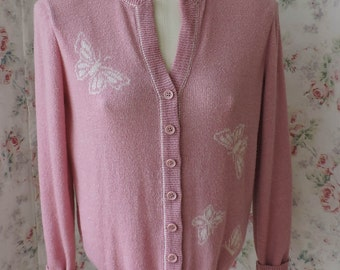 80s Dalton Cardigan Sweater - Rose Pink w Butterflies Jumper - V Neckline - Ribbed Collar Cuffs Hem - Excellent Condition - Size 12