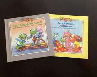 Good Knight, Sir Kermit (1987) & Baby Kermit's Old Blanket (1988) - 2 Vintage Muppet Babies Hardcover Books - Jim Henson