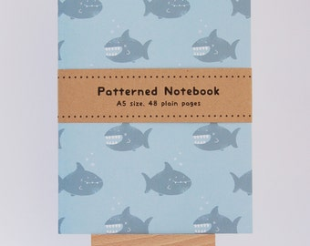 Sharks! Cute Shark Patterned A5 Notebook