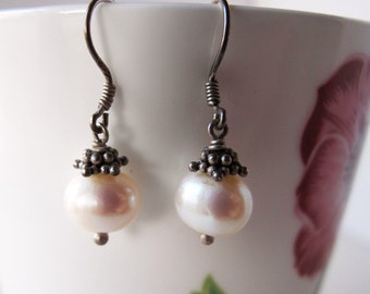 Vintage Natural Pearl Earrings With Oxidized Silver Decorations, Lovely Luxury Dangle Earrings