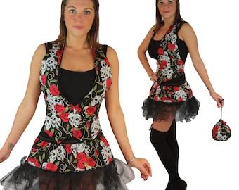 Skulls & Roses Tattoo Style Tutu Set Waistcoat pouch and tutu skirt cyber or pleated