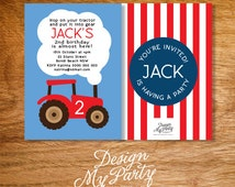 Green or Red Tractor Invitations (Personalised DIY Printables)