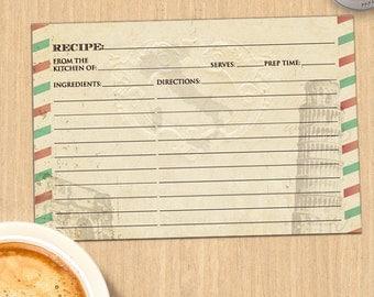 Vintage Italian Bridal Wedding Shower Recipe Card, Instant Download PDF