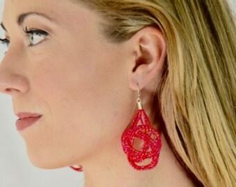 Raspberry earrings,seed bead earring,big knots earring,bridesmaid gift,dark pink earring,seed bead earring,statement,big earring,coral