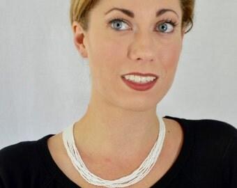 Bridesmaid gift,bridght white necklace,bridal necklace, seed bead necklace,beaded necklace,seed bead jewelry,bridesmaid jewelry,white beaded