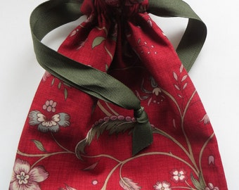 Small Red Floral Fabric Gift Bag