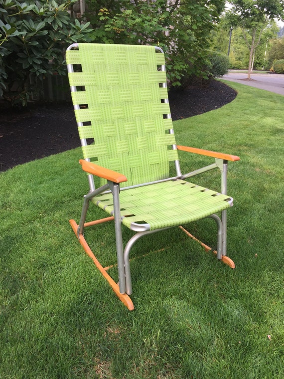 Vintage Rocking Lawn Chair Aluminum Chair with Webbing and