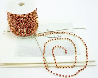 Gold Rhinestone Chain, Red Siam Crystal, (3mm / 1 Foot Qty)