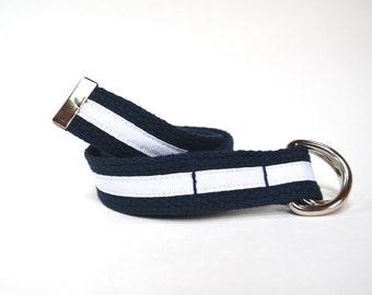 Ribbon Belt, Child Belt, Adjustable Kids Belt Navy with Stripe
