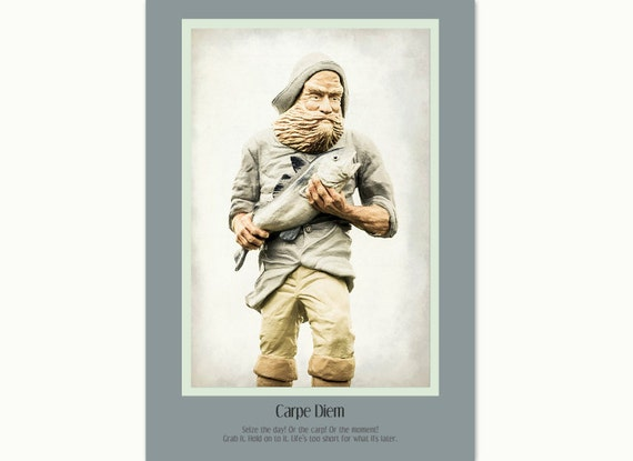 """Inspirational Flat (NOT FOLDED) 5""""x7"""" Photo Greeting Card for Fishing Enthusiasts. Fisherman Statue with Salmon. Carpe Diem."""