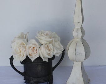 White Painted Distressed Wood Finial