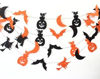 Halloween Decor, Halloween Banner, Halloween Garland, Bat Decor, Orange & Black Halloween Garland, Paper Garland, Fall Decor, Autumn Decor