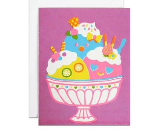 Icecream glass cup screenprinted card