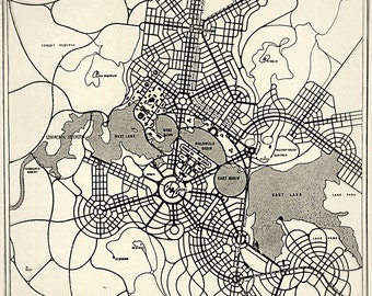 CANBERRA CITY Australia Art Deco 1920s Map Antique Map SIX Size Choice Poster Print