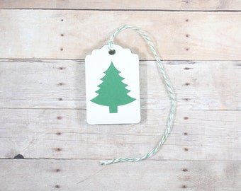 Christmas Gift Tags, Set of 10 Green and White Tags with Christmas Tree, Holiday Tags, Christmas Tags, Party Favor Tags, Blank Present Tags