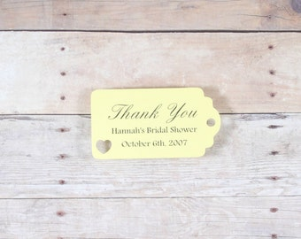 Bridal Shower Favor Tags Set of 20 - Personalized Wedding Gift Tag - Bridal Shower Tags - Light Yellow Baby Shower Labels - Mini Favor Tags