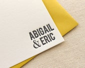 Letterpress Couples Modern Personalized Stationery, Set of 50 or more Custom Flat Note Cards, anniversary, thank you, wedding gift, newlywed