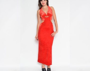 Vintage 90's Red Velvet Cut Out Backless Maxi Slit Dress