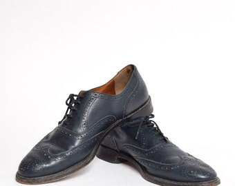 Men's Blue Leather Wingtip Shoes
