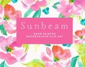 Flower Watercolour Clipart, Hand Painted Graphics - Sunbeam