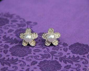 Silver Diamond and Pearl Flower Stud Earrings