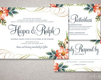 "Garden Chic ""Harper"" Wedding Invitation Suite - Floral Romantic Woodland Calligraphy Invite - Custom Digital Printable or Printed Invitation"