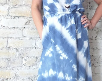 Ida Dress, bamboo rayon, shibori dyed in indigo-- day, evening, party