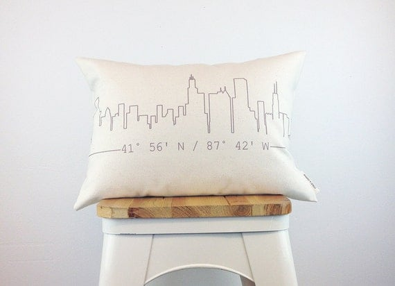 City Skyline Coordinates Pillow, Housewarming Gift, Home Pillow, Custom Pillow, Personalized Gift, Graduation Gift, Dorm Decor