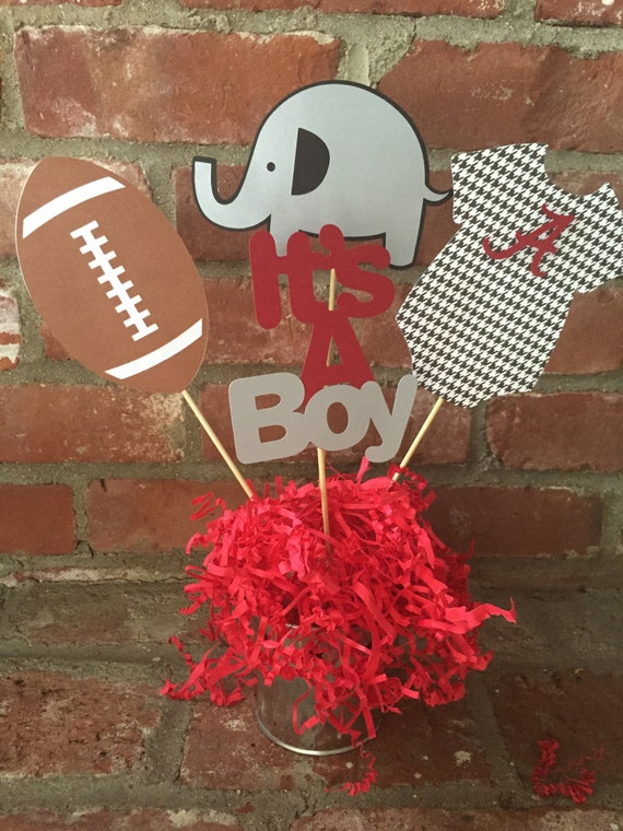 alabama roll tide football themed baby shower centerpiece