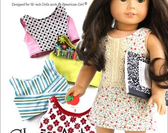Pixie Faire Matilda's Closet Class Act: Cropped Top Collection and Simple Skort Doll Clothes Pattern for 18 inch American Girl Dolls - PDF