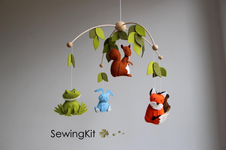 baby mobile woodland mobile forest animal mobile wool felt. Black Bedroom Furniture Sets. Home Design Ideas